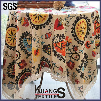 5m/pack Newest Folk Style Sunflower Printing Canvas Fabric Linen ...