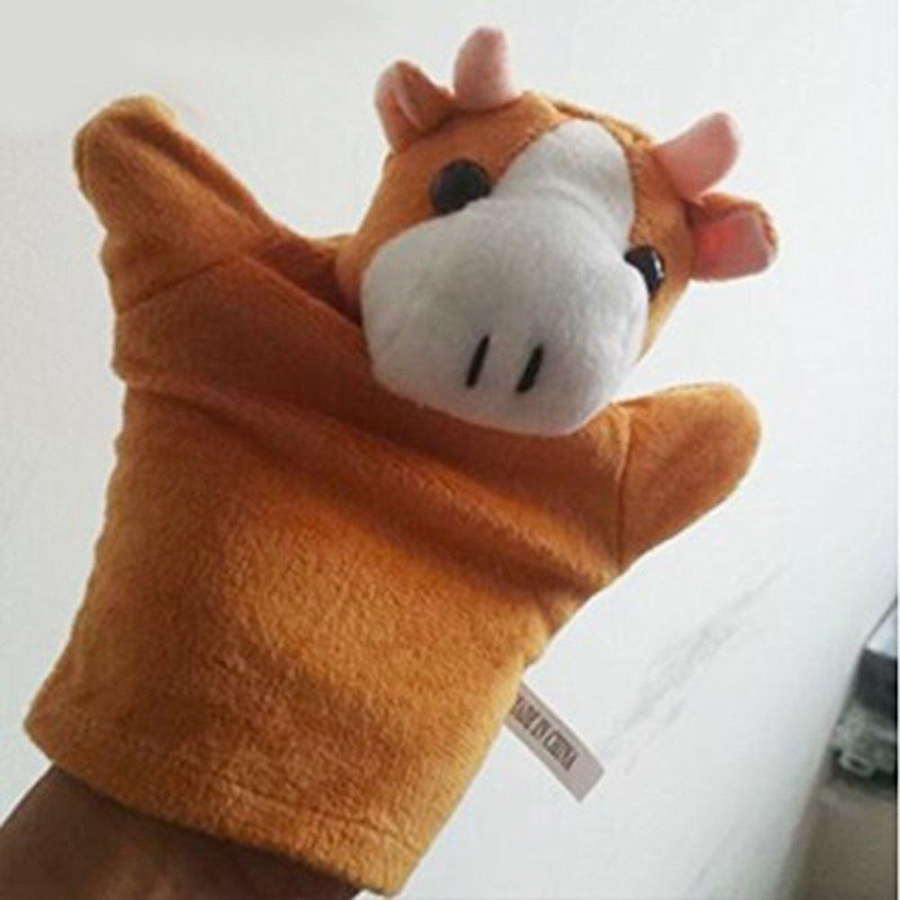 LUCKSTAR(TM) 1PC Cute Velvet Animal Style Hand & Finger Puppet Toy Plush Toy For Kids Preschool Kindergarten (Cow)
