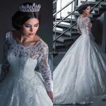 SJ2573 sexy high-neck organza appliqued ball gown long sleeve bridal gown
