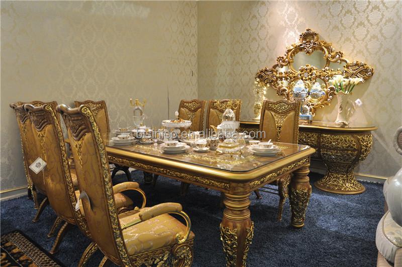 Italiaanse glazen blad eetkamer tafels en stoelen set antieke gouden houten rechthoek 8 - Eetkamer deco ...