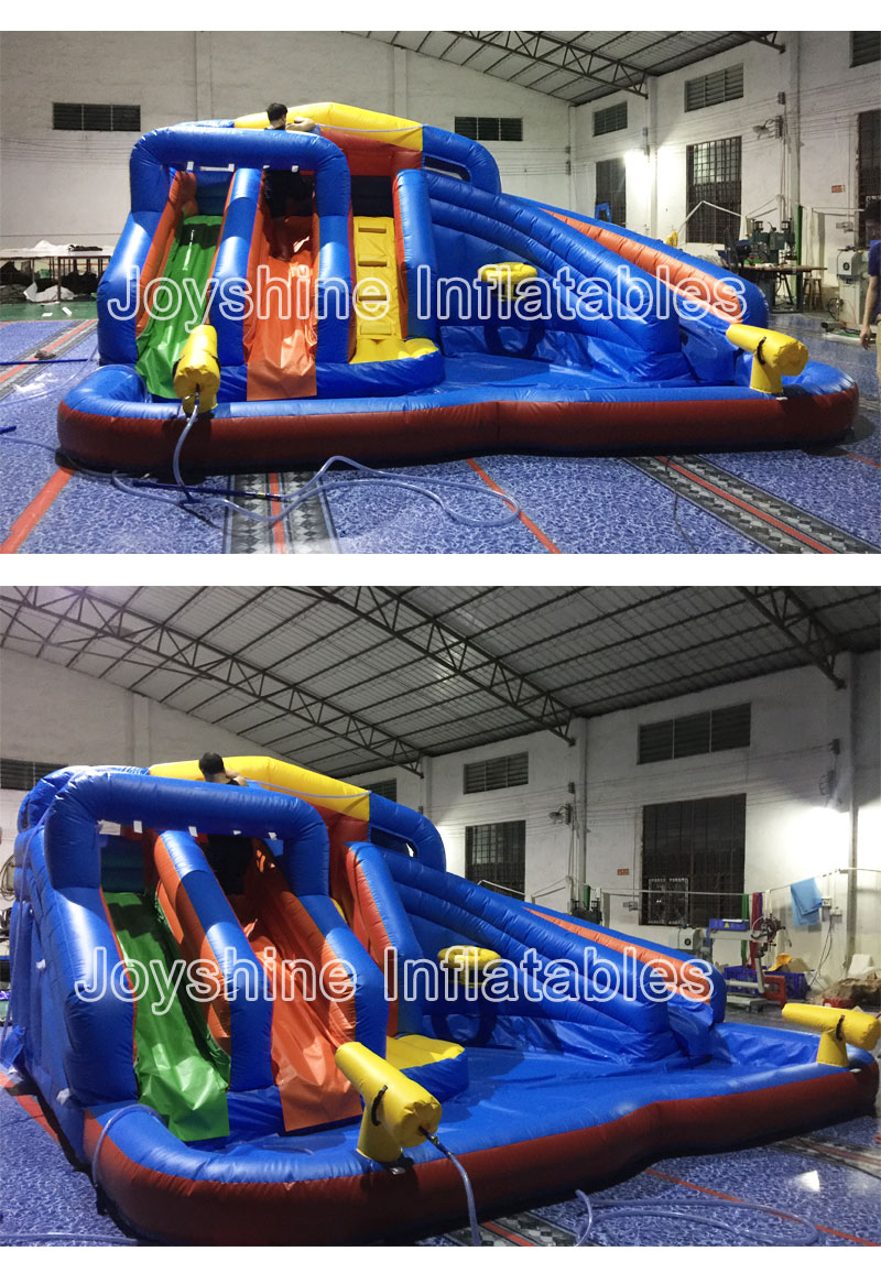 Kids Children Water Amusement Park Inflatable Combo Bouncy Jumping Bouncer Castle Purple Inflatable Water Slide With Pool