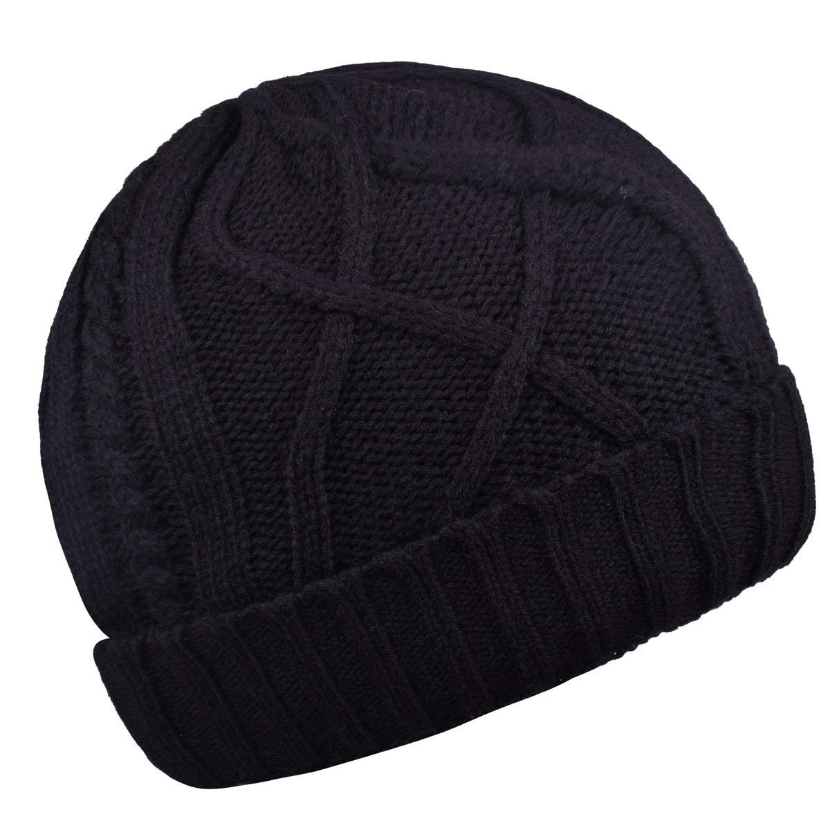 2cbc6c8292e Get Quotations · Cotton Skull Cap Slouch Hat Thick Knit Winter Ski Caps Beanie  Hats for Women And Men