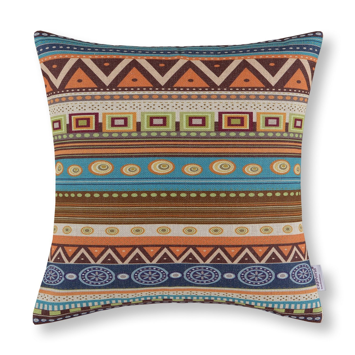 CaliTime Cushion Cover Throw Pillow Shell Geometric Figure 18 X 18 Inches, Vintage Southwestern Design
