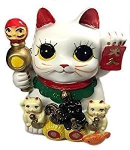 Feng Shui Big Eyes Maneki Neko Lucky Cat Coin Bank for Wealth & Prosperity