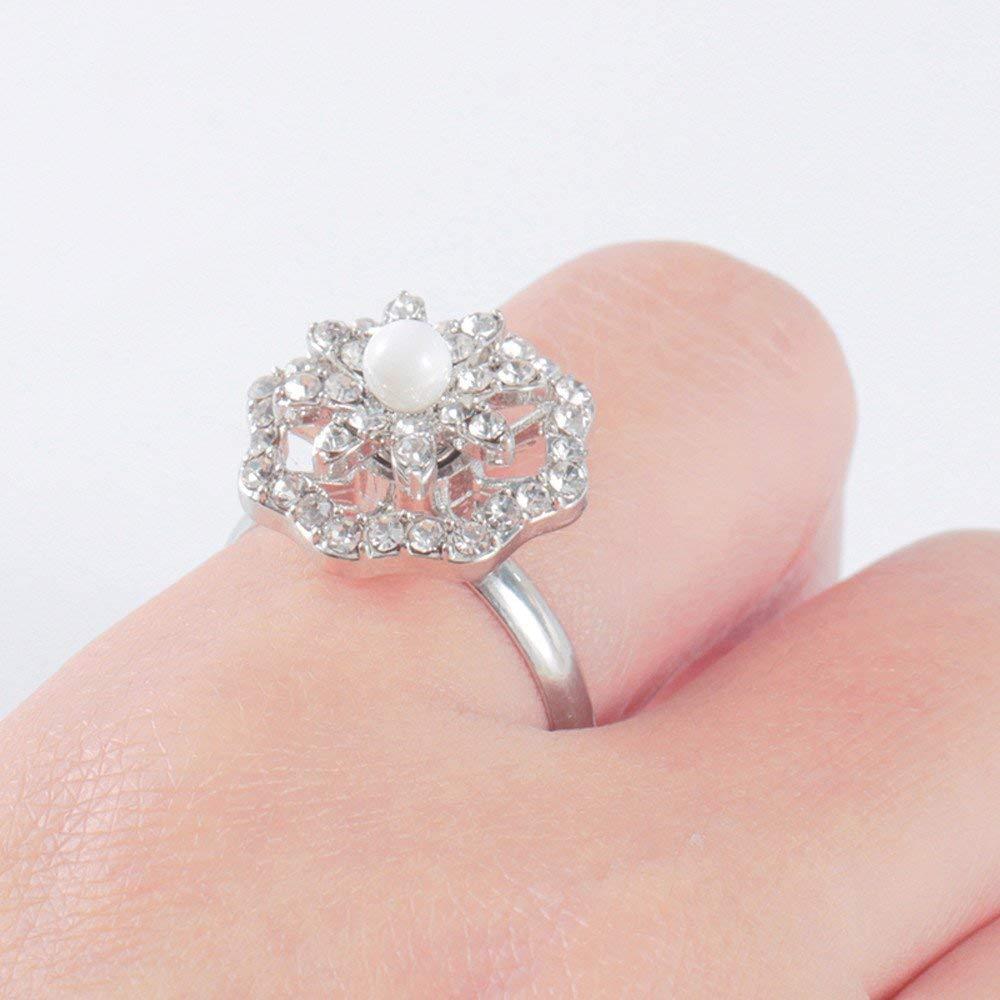 Fashion Ring, Hoshell 1PC Adjustable Open Rotating Ring Zircon Ring Diamond Ring Elegant Party Ring for Women Girl Gift