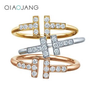 Women Exquisite Jewelry 100% Real Silver 925 Rings Double Ti White Gold 14 k / Rose Gold Surface Zircon Wedding Ring For Lady