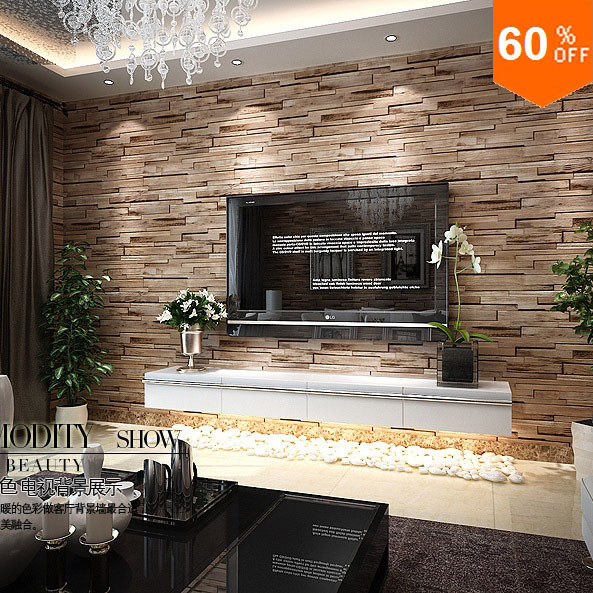 Stone 3d Wood Blocks Effect Brown Stone Brick 10m Vinyl