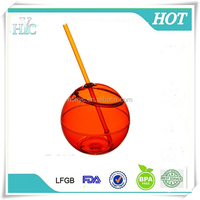 100% BPA Free Fiesta Beverage Cocktail ball with Straw, wholesales plastic ball shaped tumbler, 20oz Cocktail ball Straw tumbler