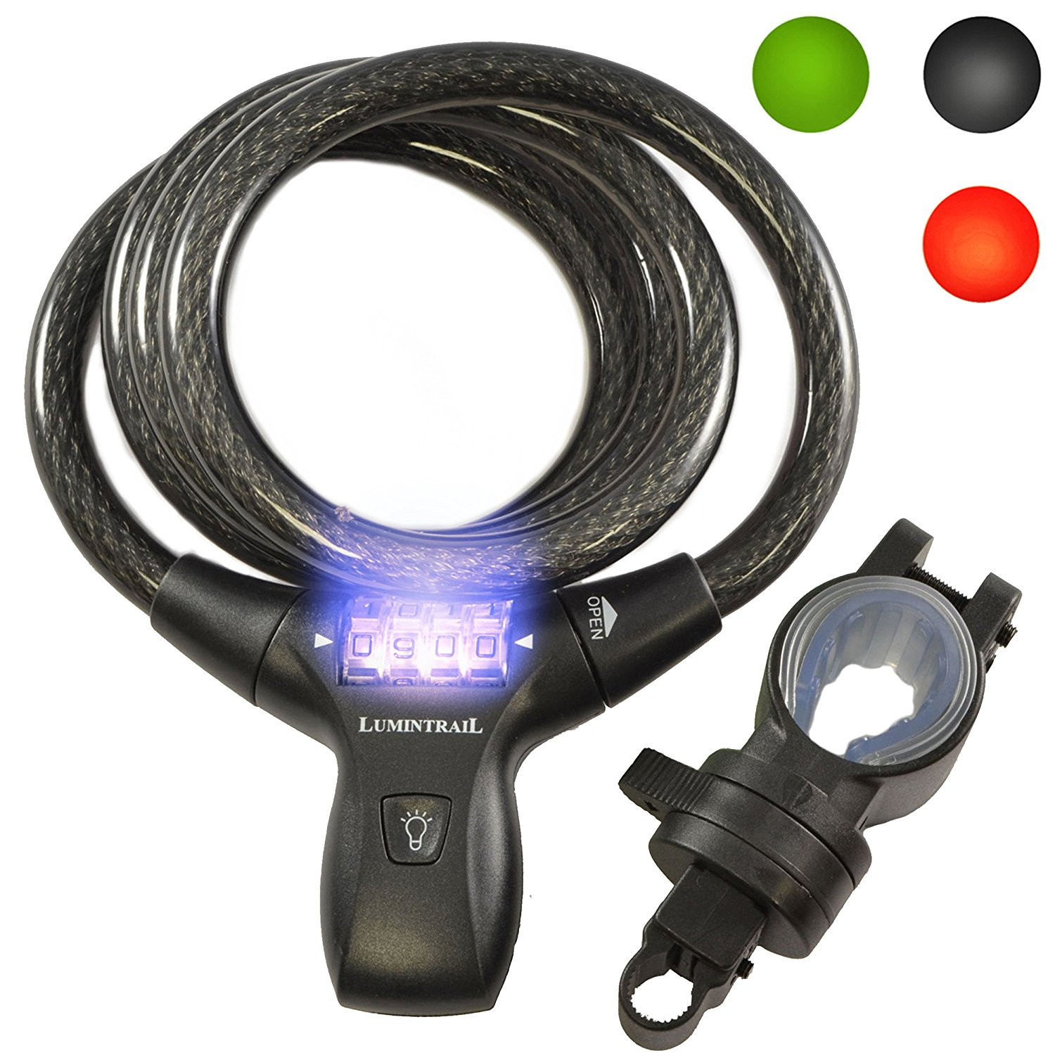 Lumintrail LK21051 Bike Bicycle Combination Cable Lock with LED Illumination & Mounting Bracket, Military Grade Braided Steel & Components, Pick & Drill Resistant Security. Comes with Our