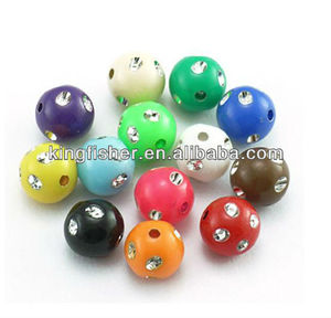 Acrylic round mix colors sparkly bling rhinestone balls beads 8mm/10mm/12mm wholesales.
