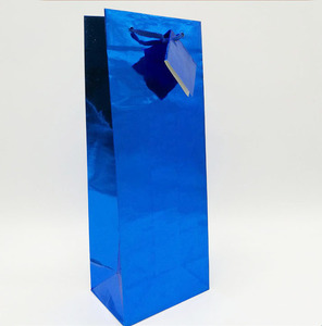 Glossy Holographic luxury wine bottle gift paper tote bag