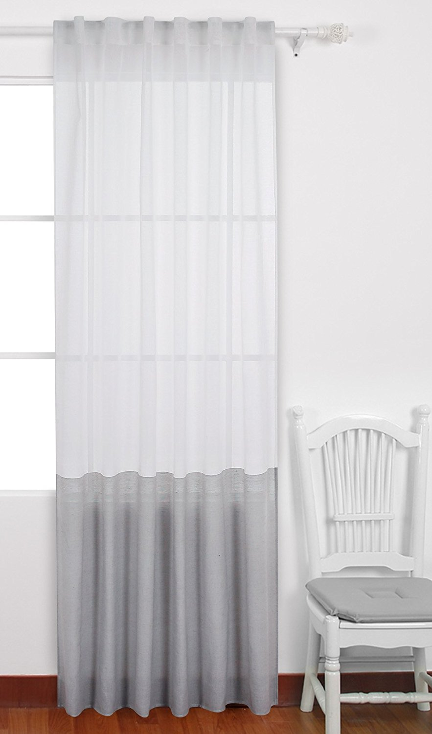 Buy Deconovo Decorative Patchwork Sheer Curtains Spliced Faux Linen Curtains Back Tab And Rod Pocket Curtains Window Treatments For Bedroom 52 X 96 Inch Light Grey 1 Drape In Cheap Price On Alibaba Com
