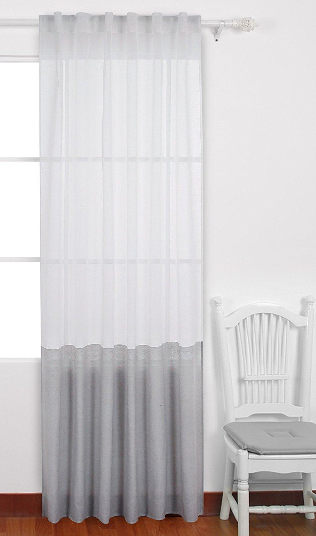 Buy Deconovo Decorative Patchwork Sheer Curtains Spliced Faux Linen