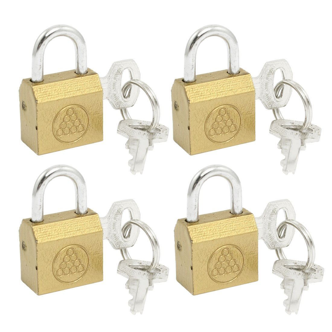 uxcell 4 Pcs Cabinet Jewlery Box Drawer Safety Brass Padlock Keys Set