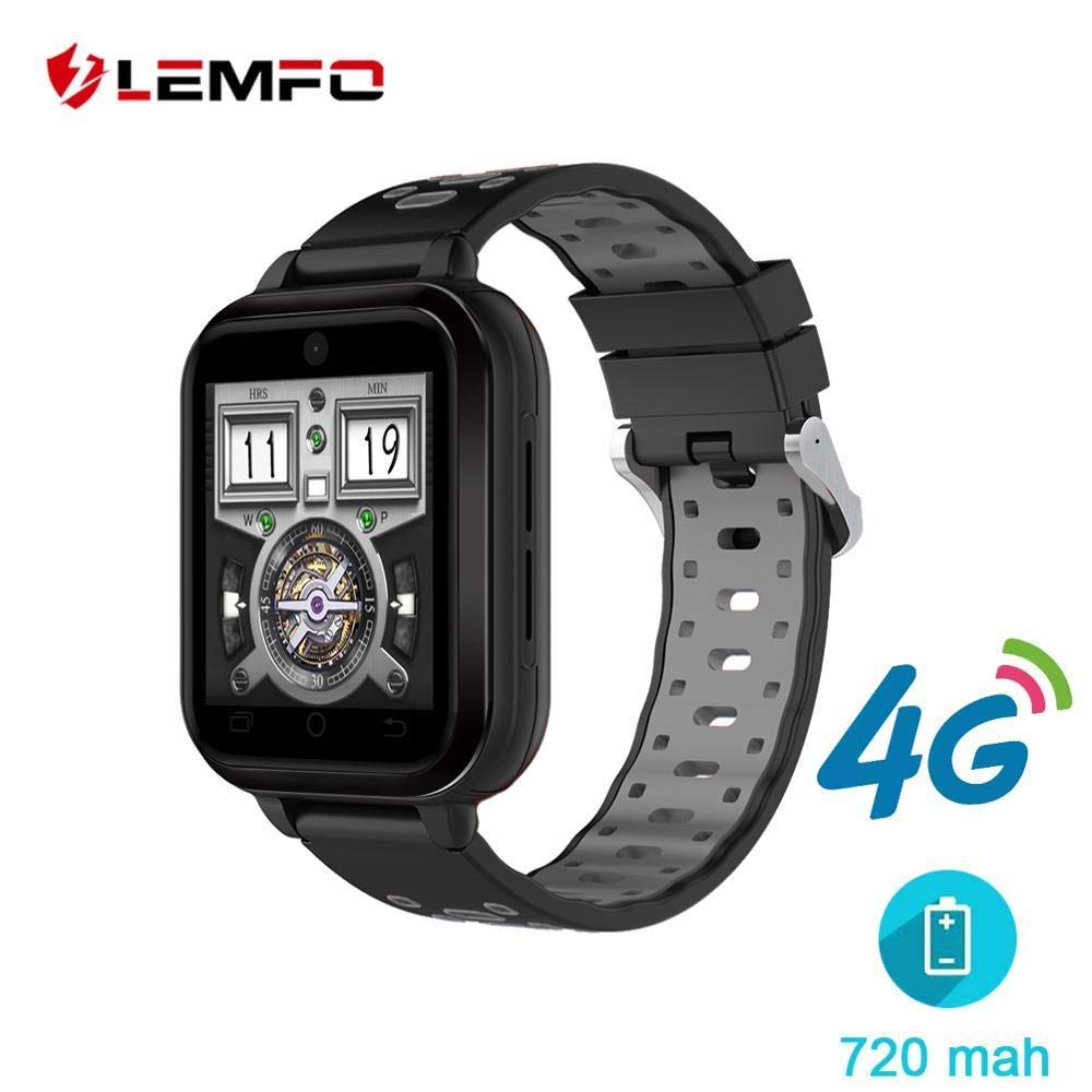 LEMFO 4G Smart Watch 1GB+8GB MTK6737 Android 6.0 Waterproof Watch Phone 720mah Big Battery Support GPS WiFi Camera (red Strap/Spain)
