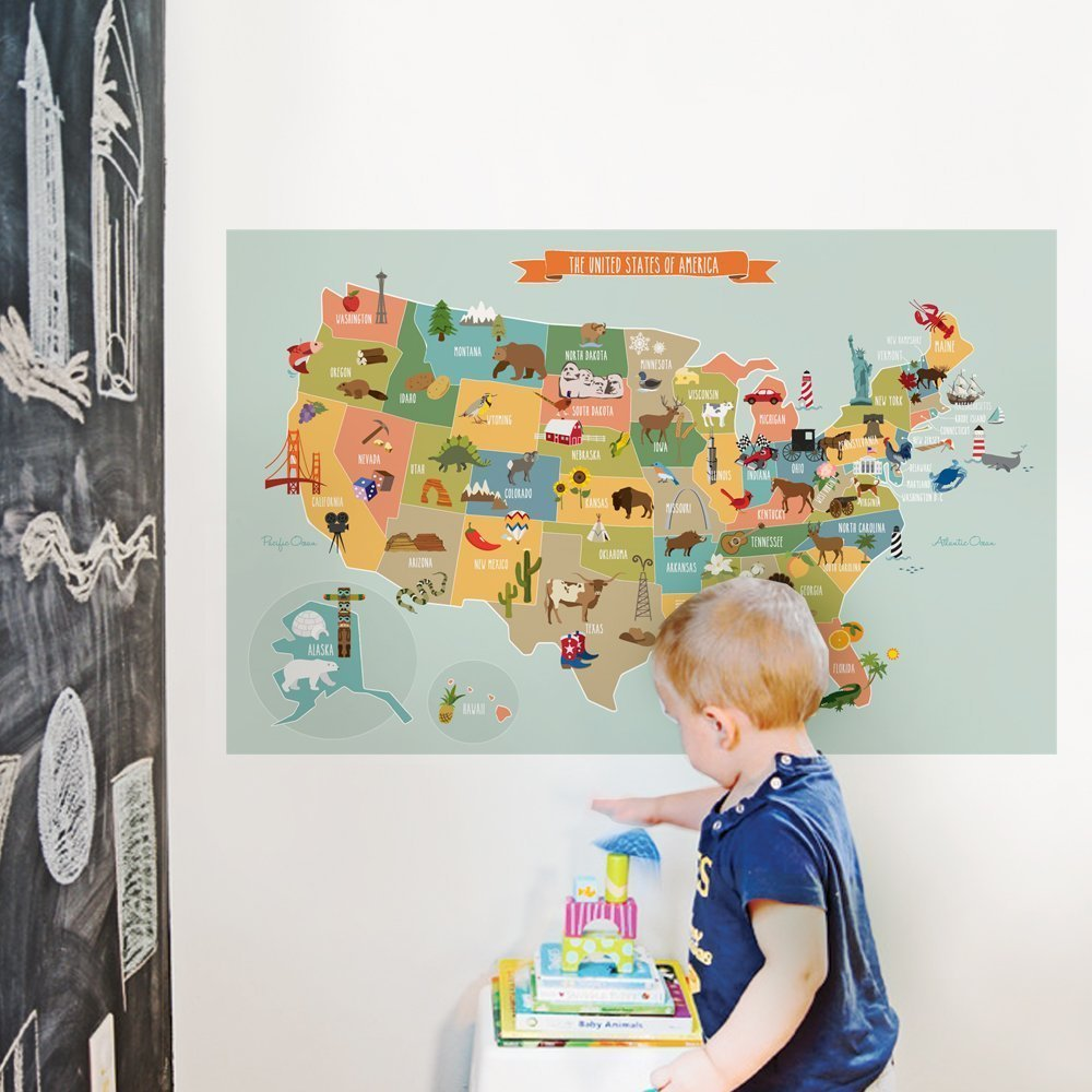 "Kids USA Map Poster Wall Sticker Illustrated Children's USA Map (Small - 35""w x 22.5""h) - by Simple Shapes"