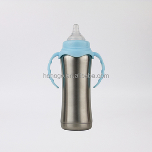 230ml BPA free stainless steel baby feeding bottle with silicon nipple