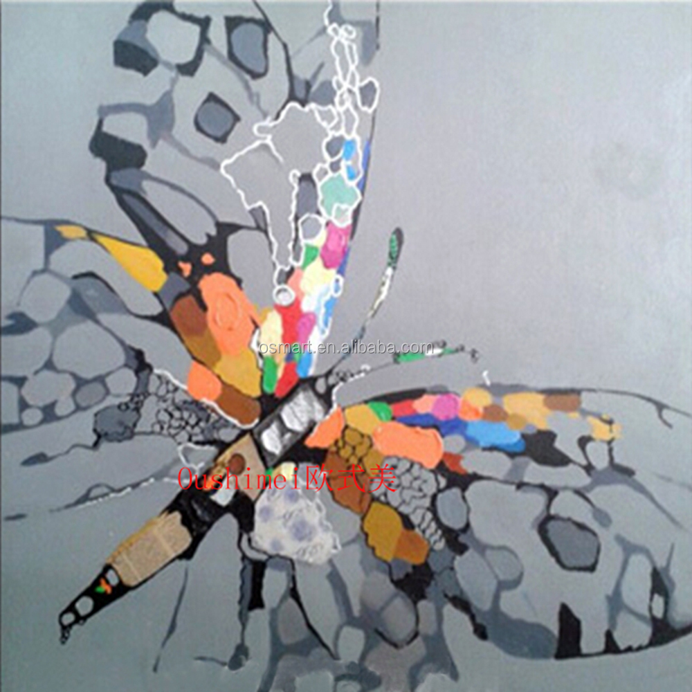 100% Handmade Abstract Butterfly On Canvas Pictures Oil Painting ...