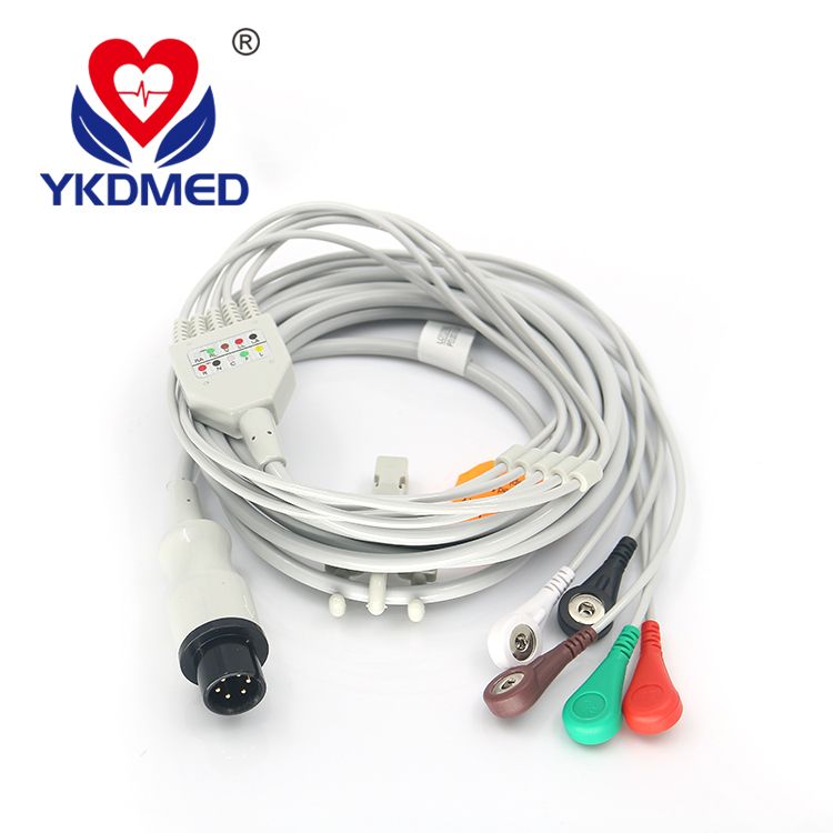 General use for many brand patient monitor 6pin 5 leads one-piece ECG cable , AHA , Snap