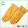 New fashion winter autumn spring woman fancy leather gloves in yellow
