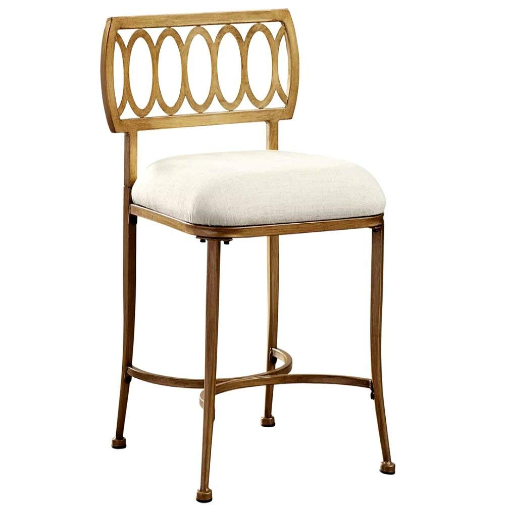 Cheap Vanity Stool, Modern Antique Contemporary Golden Bronze Vanity Stool with White Seat & E-Book