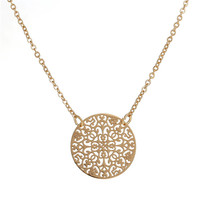 New Fashion Copper Filigree Stamping Necklace Link Cable Chain Gold Plated Round Pendant Flower Carved Hollow