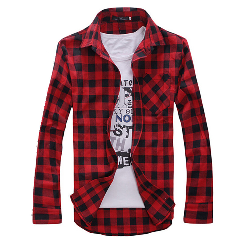 Men's Plaid Shirts Fashion 2015 Autumn New Men Casual Long Sleeve Shirt Male Slim Fit Camisa Xadrez Masculina Red Black T619