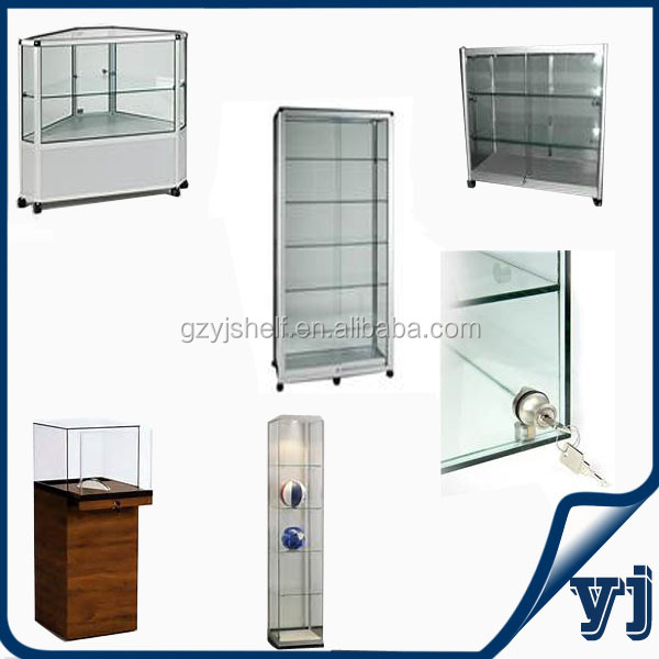 Aluminium Glass Rotating Display Casewall Unit Display Cabinetwall