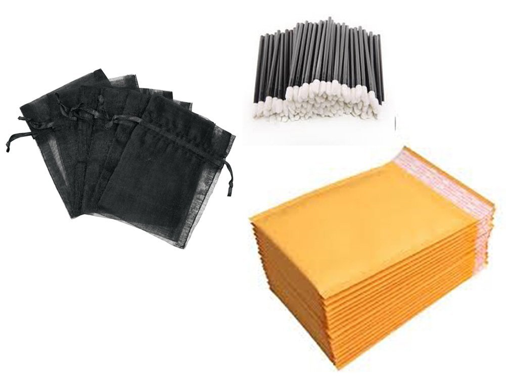 Cosmetic Distributor Starter Kit with (100) Disposable Lip Gloss Applicator, (100) 4x6 Organza Bags, and (30) 4x8 Padded Mailing Envelopes (Black)