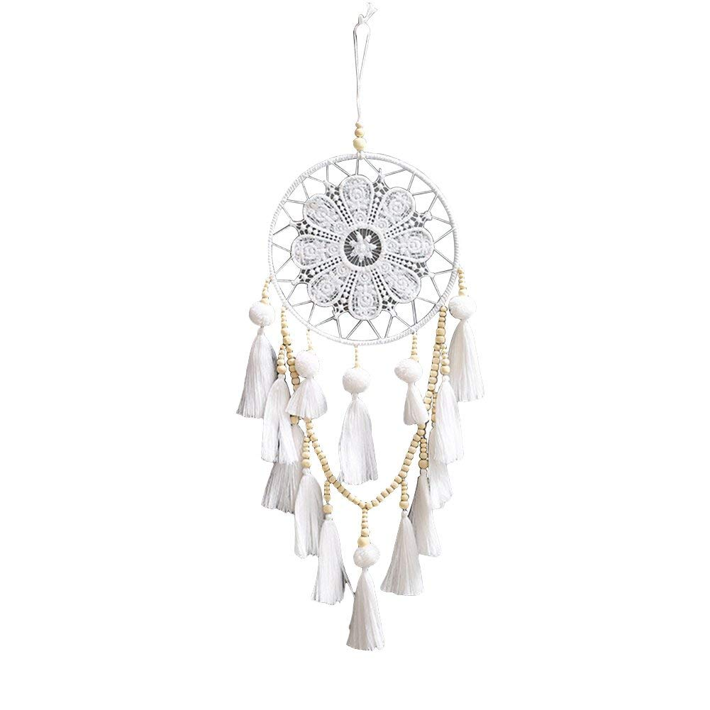 AkoMatial Handmade Dream Catcher-Hand Knitted Indian Wood Beads Tassels Dream Catcher Home Wall Hanging Decor - White