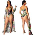 9031926 woman Printed mesh v-neck tight Swimsuit and Cover up beachwear for sale