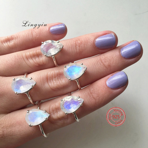 wholesale high quality 925 Sterling silver blue and rainbow moonstone engagement rings