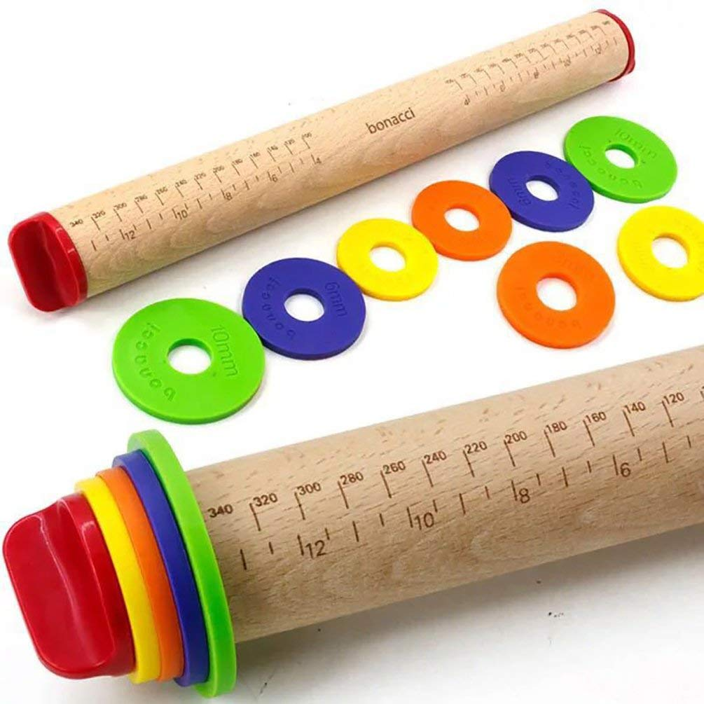 HOBULL Adjustable Rolling Pins with 4 Removable Rings Thickness Rings Dough Roller For Cookie Pastry Pizza