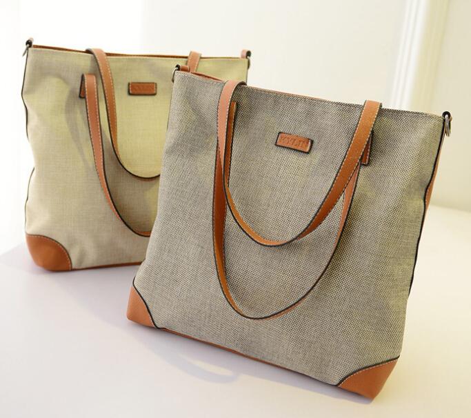 Wholesale Canvas tote bag leather handles oem production canvas ...