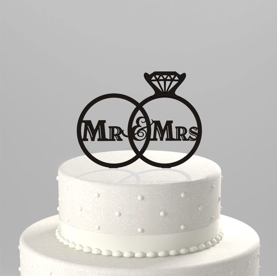 A Pair Of Rings Acrylic Wedding Cake Toppers Plexiglass Mr And Mrs ...