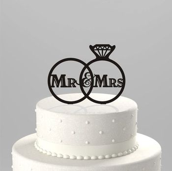 A Pair Of Rings Acrylic Wedding Cake Toppers Plexiglass Mr And Mrs Cake  Toppers