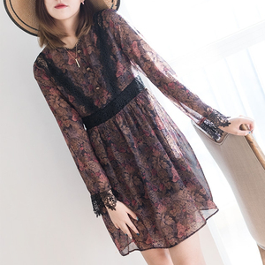 New 2019 Ladies Dusty Jungle On Crincke Muslin Lace Trim Back Zipper Metal Buckle Women Dress