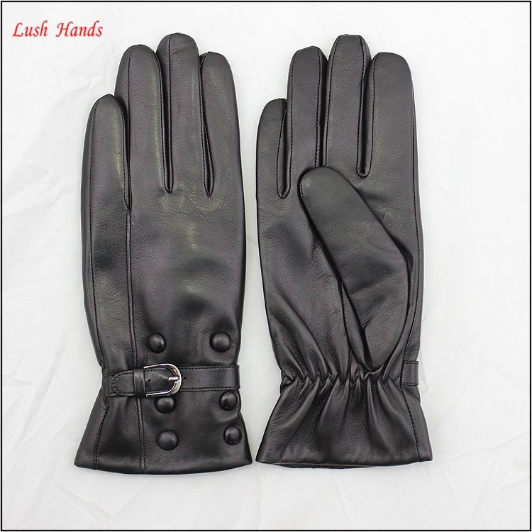 Wholesale women leather gloves with buttons and belt