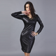 OEM New style fashion long sleeve O-neck elegant leather casual dress for women