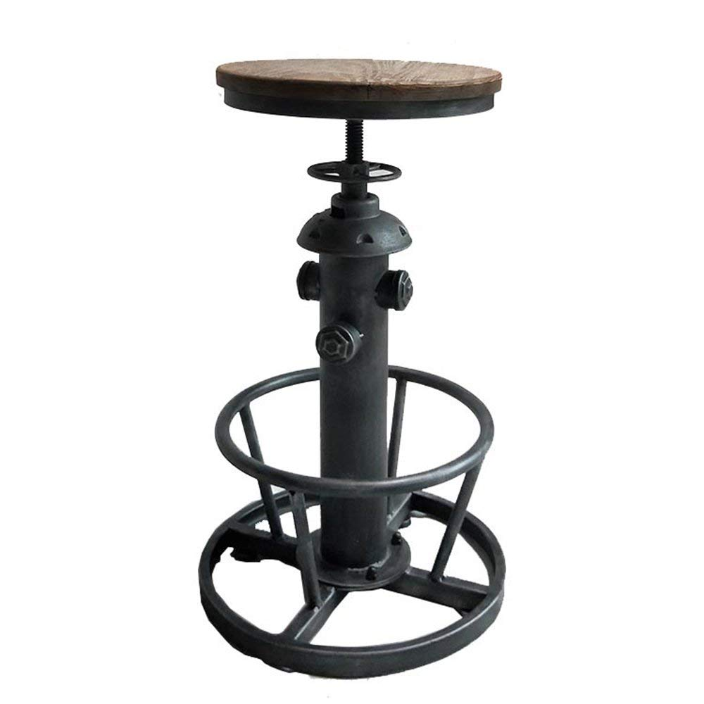 Barstools MAZHONG Wrought Iron High Stools, Solid Wood Bar Stool Round Rotating Lift Bar Stools (color As Shown) (Color : B)