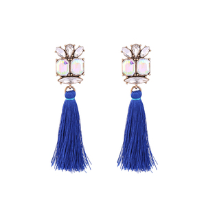 ed01013b Fashion Party Jewelry Charms, Young Girls Glass Crystal Tassel Earrings