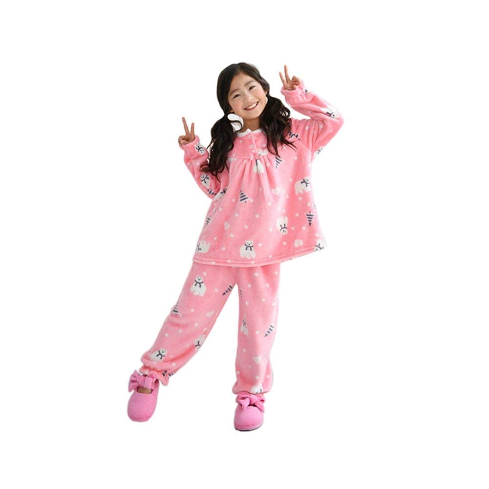 Beaute.s N1822 Big Girls' Cozy Minky Micro Fleece Pajamas with Long-Sleeved Top Pink BearLand