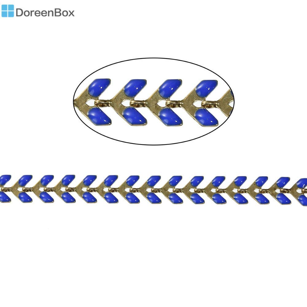 """Chain Metal Eraseable Doreen Box Copper Spiky Chains Findings Gold Color Royal Blue Enamel 7x6mm(2/8"""" x 2/8""""), 1 Piece(Approx 0.5 M/Piece)"""