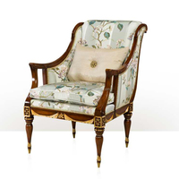 Graceful Antique Victorian Armchair with Golden Highlights and Upholstered, Classic English Living Room Furniture BF11-09102c