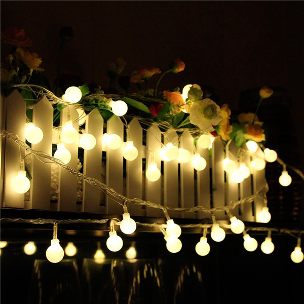 Smart Solar Outdoor String Lights White Crystal Ball Solar Powered ...