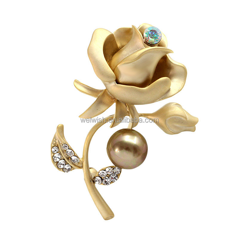 Latest Design Korean High Quality Custom Metal Lady Funky Rose Flower Brooch