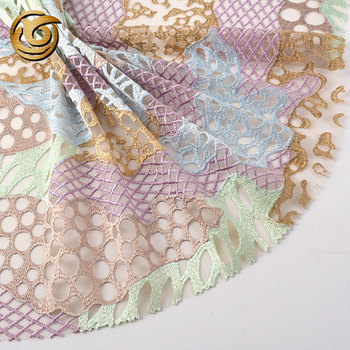 Latest design different luxury mesh lace 3d embroidery fabric flower for girl dress