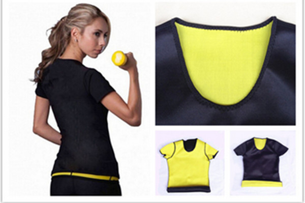 womenT-shirt Hot Body Shapers Weight Loss Stretch Neoprene Shorts Sleeve Vest Slimming Control Camiseta