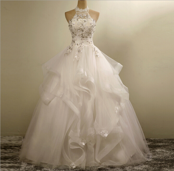 Real Photo A Line Halter Neck Tulle Ruffles Lace Applique Bride's Wedding Dresses