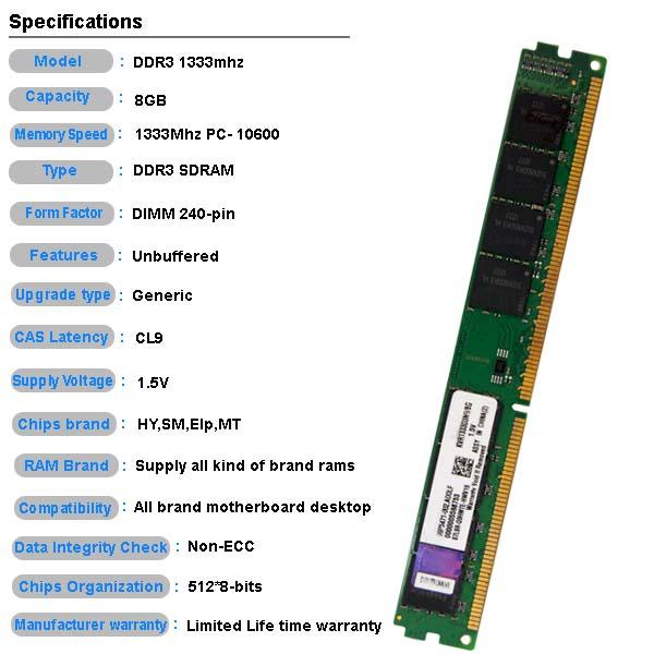 Original oem desktop ram memory ddr3 8gb